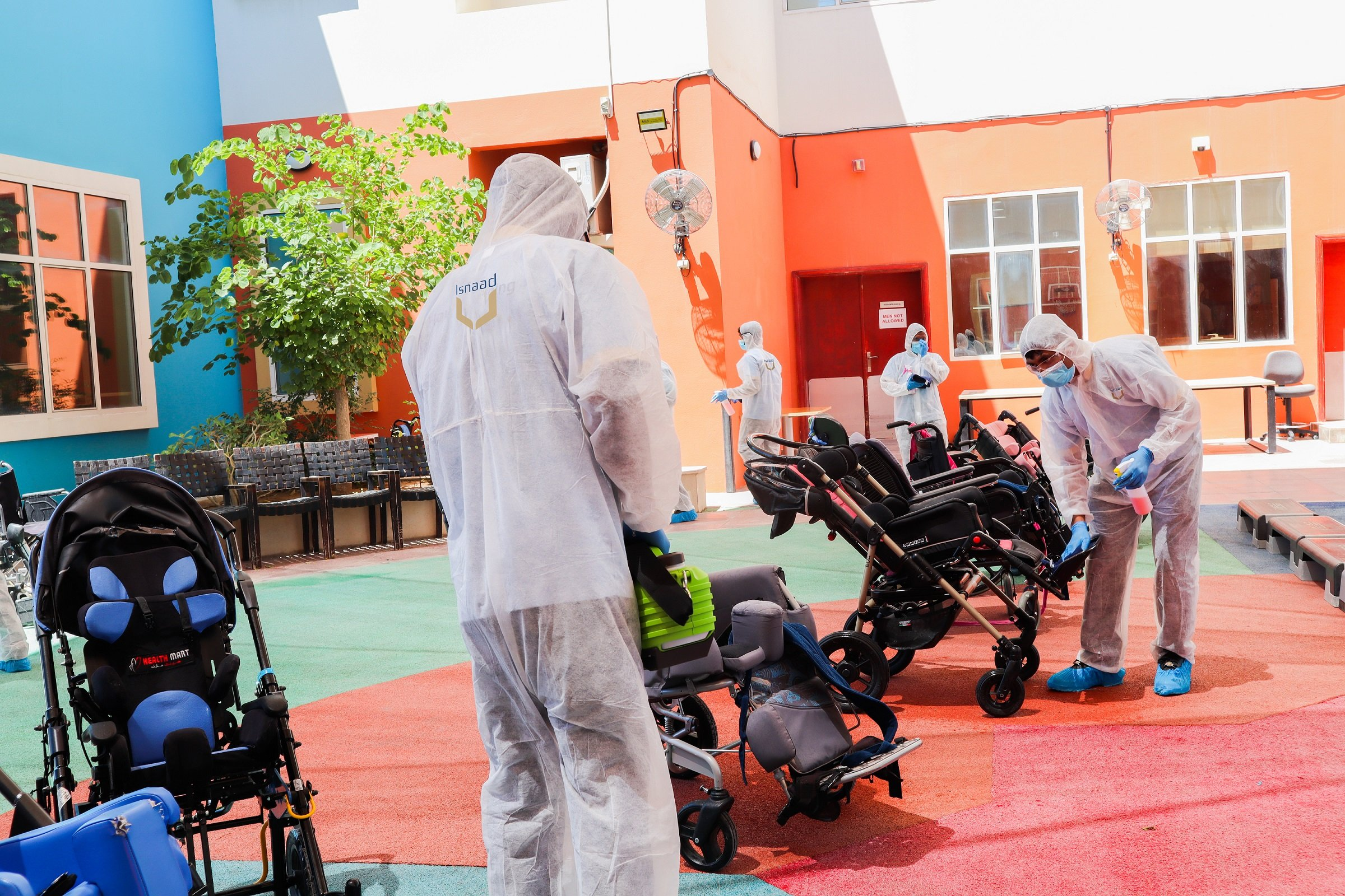 Isnaad Conducts Disinfection Drive at Facilities for People of Determination